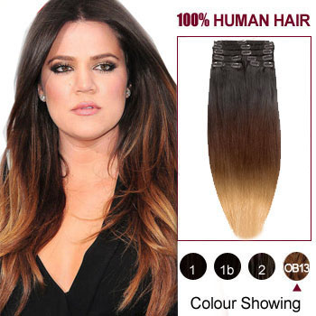 16 three colors 1b and 30 and 27 ombre indian remy clip in