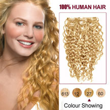 Cheap strawberry blonde clip in human hair extensions uk 16 inches strawberry blonde 27 7pcs curly clip in brazilian remy hair extensions pmusecretfo Images