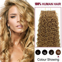 Cheap tape hair extensions curly remy hair extensions in uk 16 inches light brown 10 20pcs curly tape in human hair extensions pmusecretfo Images