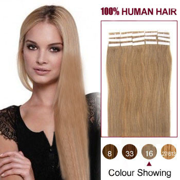 18 Golden Blonde 16 20pcs Tape In Human Hair Extensions On